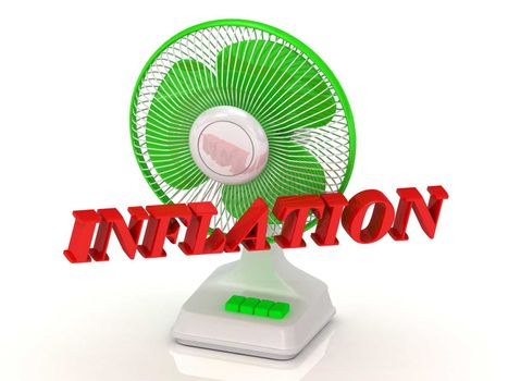 INFLATION- Green Fan propeller and bright color letters on a white background