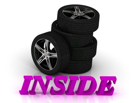 INSIDE- bright letters and rims mashine black wheels on a white background