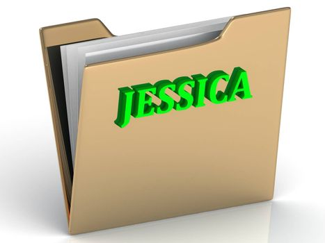 JESSICA- bright green letters on gold paperwork folder on a white background