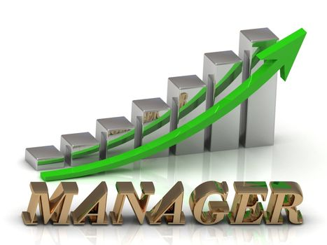 MANAGER- inscription of gold letters and Graphic growth and gold arrows on white background