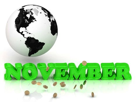 NOVEMBER- bright color letters, black and white Earth on a white background