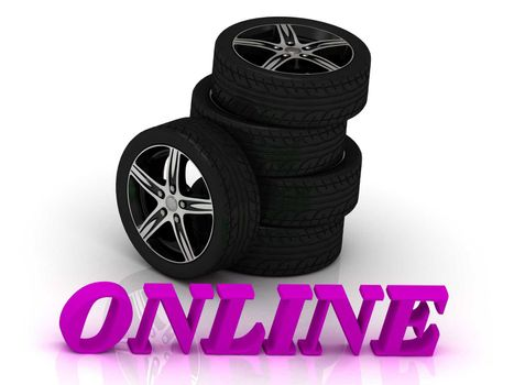 ONLINE- bright letters and rims mashine black wheels on a white background