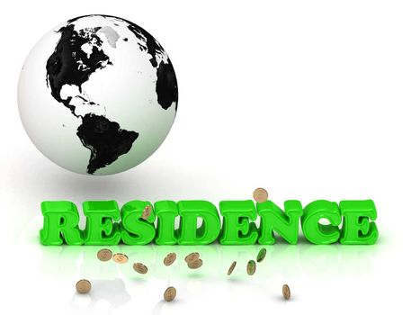 RESIDENCE- bright color letters, black and white Earth on a white background