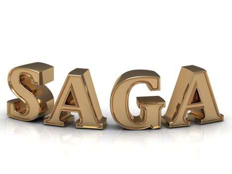 SAGA - bright gold bend letters on a white background