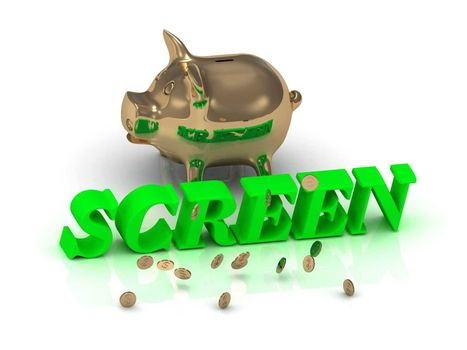 SCREEN- inscription of green letters and gold Piggy on white background