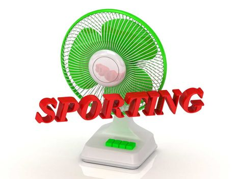 SPORTING- Green Fan propeller and bright color letters on a white background