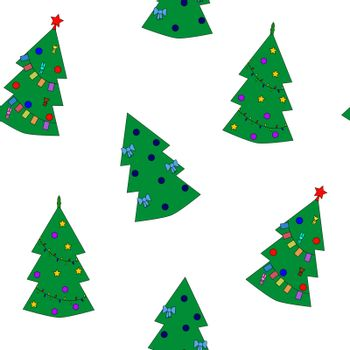 Seamless pattern of christmas tree on white background. Vector illustration EPS8