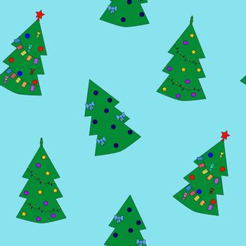 Seamless pattern of christmas tree on blue background. Vector illustration EPS8