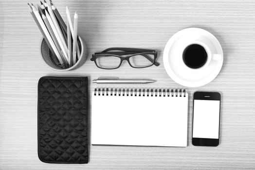office desk : coffee with phone,notepad,eyeglasses,wallet,color