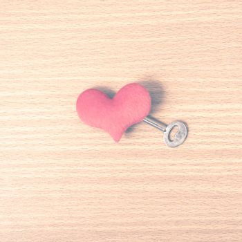 red heart with key vintage style