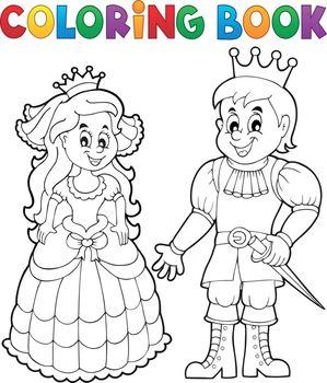 Coloring book princess and prince
