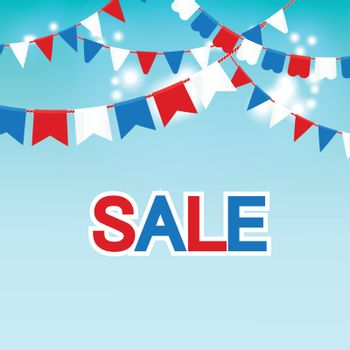 Vector illustration of Blue sky with colorful flags garlands and text sale.