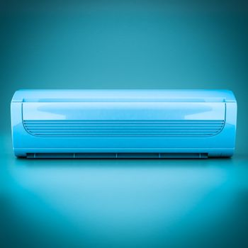 Image of modern air conditioner on a blue background