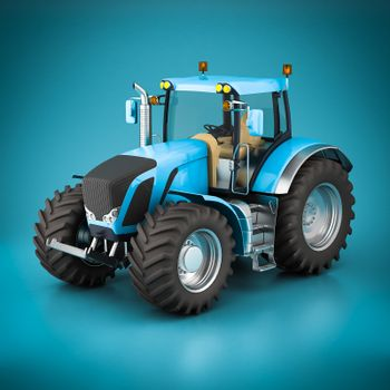 Modern tractor on a beautiful blue background