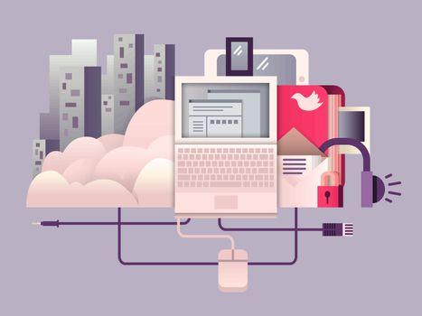 Cloud hosting design flat