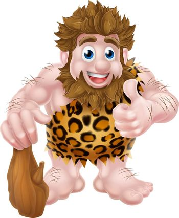 A cute cartoon caveman in an animal skin giving a thumbs up and holding a club.