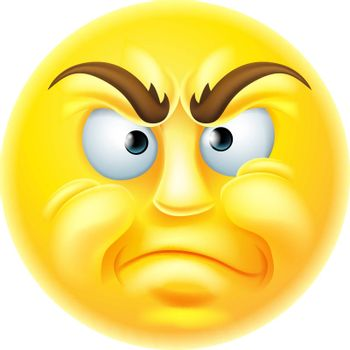 Angry or disapproving looking emoticon emoji character