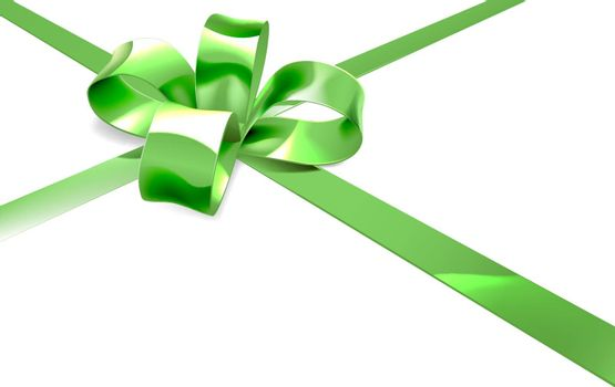 An illustration of a beautiful green ribbon and bow from a Christmas, birthday or other gift or present