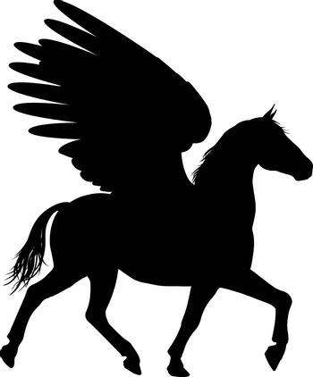 Pegasus mythical winged horse in Silhouette