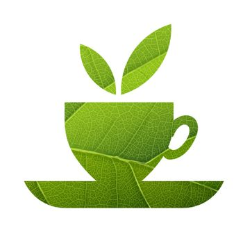 Green Tea. Leaf Veins Texture Shaped. Isolated template
