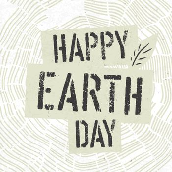 Happy Earth Day Logotype on Tree Rings Background. Template for
