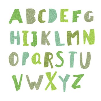 Leaf Cut Alphabet. Easy edited colors of letters. Capital letter