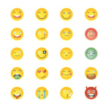 Emoticons Collection. Set of Emoji. Different Emoticons. Vector