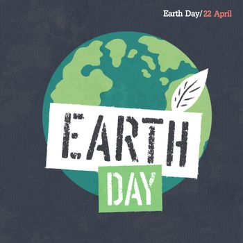 Earth Day Poster. Earth Illustration. Earth Day Logotype. On dar