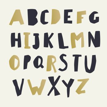 Paper Cut Alphabet. Black and gold letters. Easy edited color of