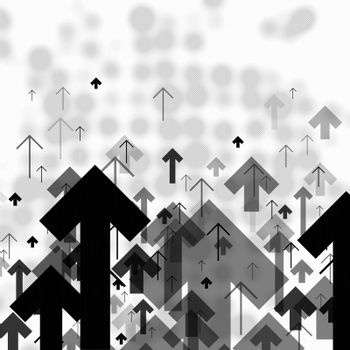 Science or Business Abstract Monochrome Background. Arrows Up an