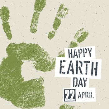 Go Green Concept Poster. Handprint on recycled paper texture, ve