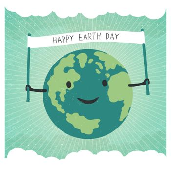 """Cartoon Earth Illustration. Planet smile and hold banner with """"H"""