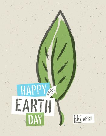 Happy Earth Day Poster. Green leaf symbolic illustration on the