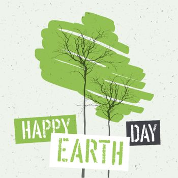 Typographic design for Earth Day. Concept Poster With Green Leav