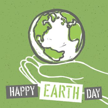 Happy Earth Day. Design for Earth Day. Concept Poster With Earth