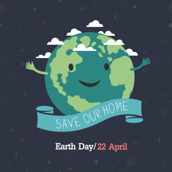 """Earth day, 22 April. """"Save our home"""". Cartoon Earth illustration"""