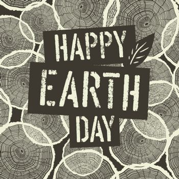 Happy Earth Day Logotype on Tree Rings Seamless Background. Temp