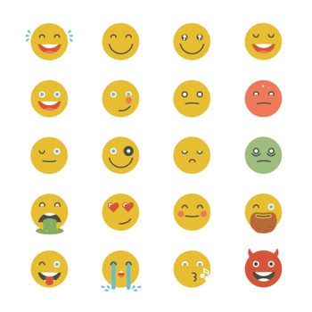 Emoticons Collection. Set of Emoji. Flat monochrome style. Diffe