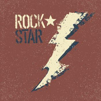 Rockstar. Grunge lettering with thunderbolt symbol. Tee print de
