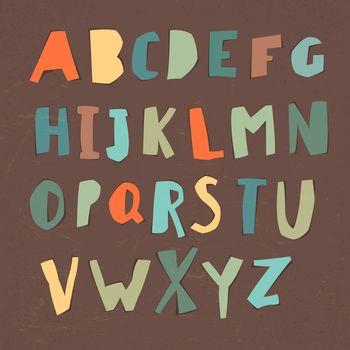 Paper Cut Alphabet. Colorful letters. Easy edited color of lette