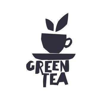 "Green Tea. Cup of Tea and text ""Green Tea"". Isolated logotype te"