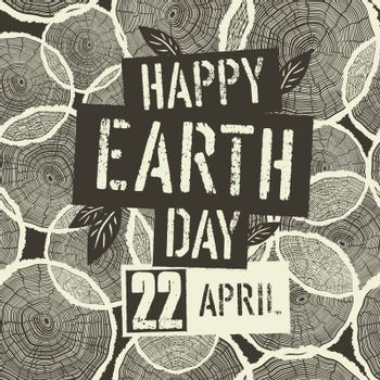 Happy Earth Day Logotype with 22 April date on Tree Rings Seamle