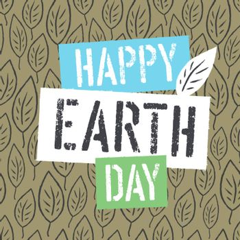 Happy Earth Day Logotype on Leaves Background. Template for Cele