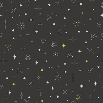 Geometric seamless pattern. Gold, gray and beige colors. Stars,
