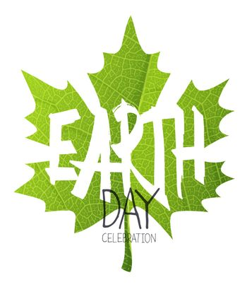 Happy Earth Day Poster. Green leaf. Leaf texture background