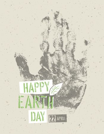 Happy Earth Day Poster. Symbolic hand-print on the recycled pape