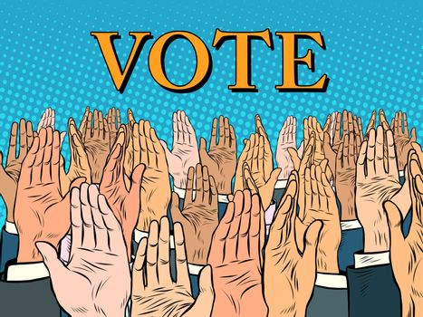 Hands up voting for the candidate