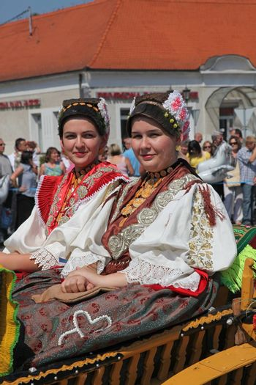 Croatian national costume at the horse and wedding wagon show during Dakovo vezovi (Dakovo Summer Festival) on July 05, 2009 in Dakovo, Croatia.