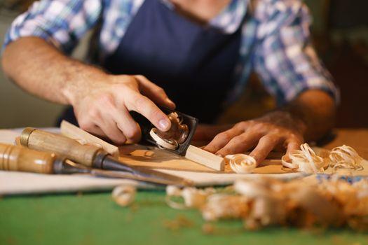 Artisan Lute Maker Chiseling Stringed Instrument Classical Guita