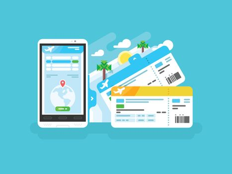 Tickets for the plane on a smartphone